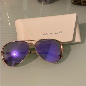 Michael Kors Aviator Sunglasses - Rose Gold/Purple